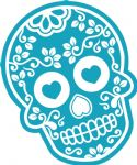 Mexican Day Of The Dead SUGAR SKULL In LIGHT BLUE & White External Vinyl Car Sticker 120x90mm